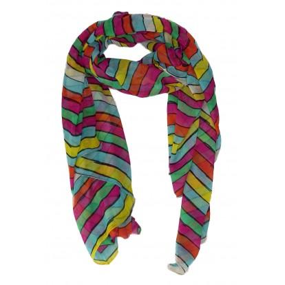 Foulard rayé multicolore - écharpe - chèche