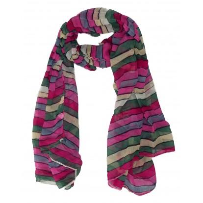 Foulard rayé multicolore rose - écharpe - chèche