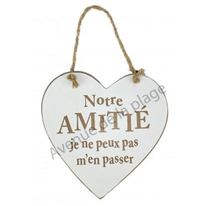 """Coeur en bois """"Amitié"""" à accrocher"""