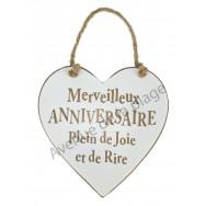 """Coeur en bois """"Anniversaire"""" à accrocher"""