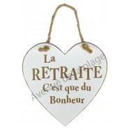 """Coeur en bois """"La retraite"""" à accrocher"""