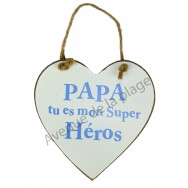 """Coeur en bois """"Papa"""" à accrocher"""