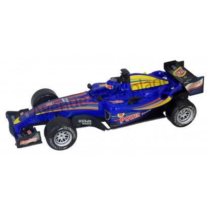 Voiture de course F1 sonique à friction 26 cm bleue.