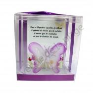 Figurine Papillon en verre violet.
