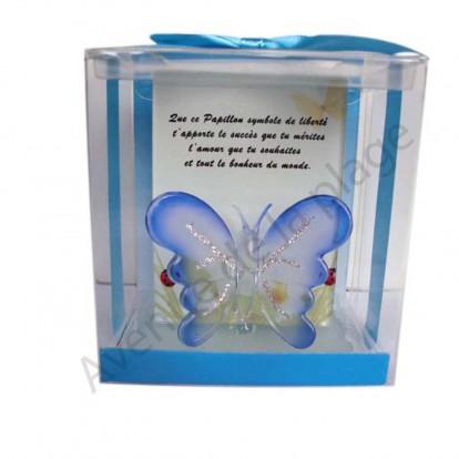 Figurine Papillon en verre bleue.
