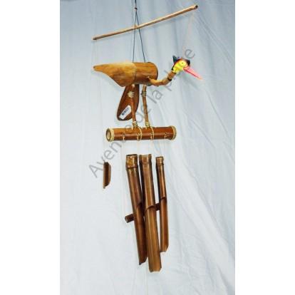 Carillon bambou oiseau 60 cm - Décoration de jardin