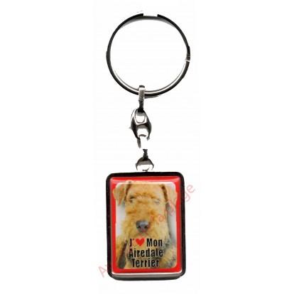 Porte clefs métal J'aime mon Airedale Terrier