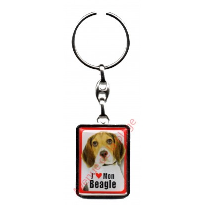 Porte clef métal J'aime mon Beagle