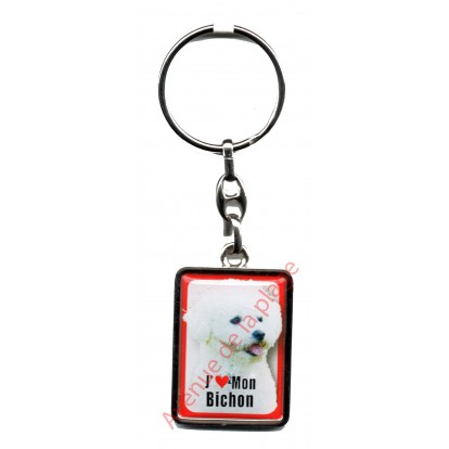 Porte clef chien J'aime mon Bichon