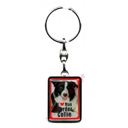 Porte clef chien J'aime mon Border Collie