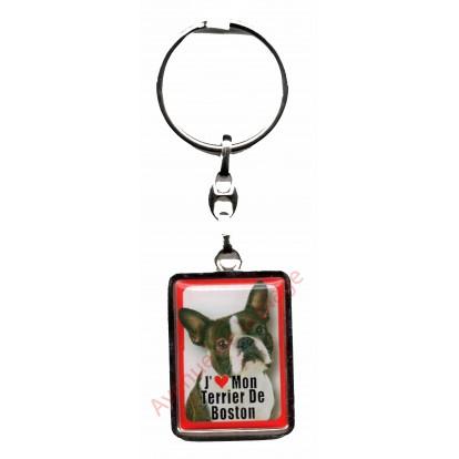 Porte clef chien J'aime mon Terrier de Boston