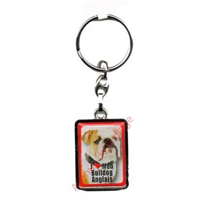 Porte clef chien J'aime mon Bouledogue Anglais