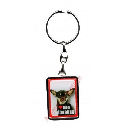 Porte clef chien J'aime mon Chihuahua noir.
