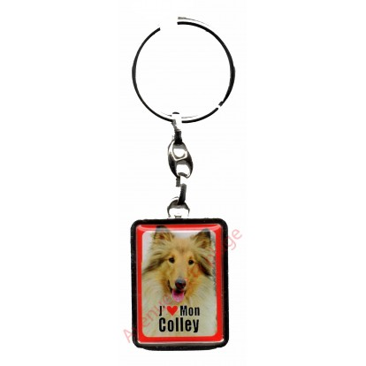 Porte clef chien J'aime mon Colley