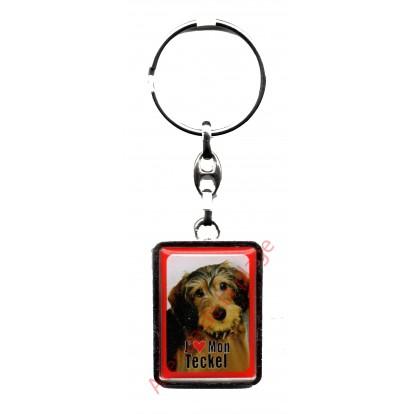 Porte clef chien J'aime mon Teckel à poil dur.