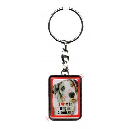 Porte clef J'aime mon Dogue Allemand