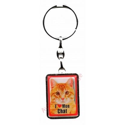Porte clef J'aime mon Chat Gingembre.