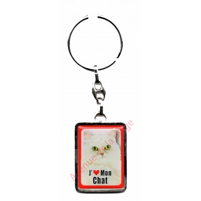 Porte clef J'aime mon Chat Persan.