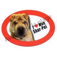 Magnet J'aime mon Shar Pei