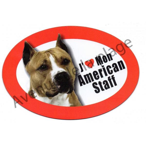 Magnet j 39 aime mon american staff achat vente avenue de for Acheter piscine pour chien