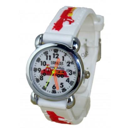 Montre pédagogique pour enfant Pompier bracelet blanc.