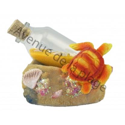 Bouteille sable avec tortue de mer.