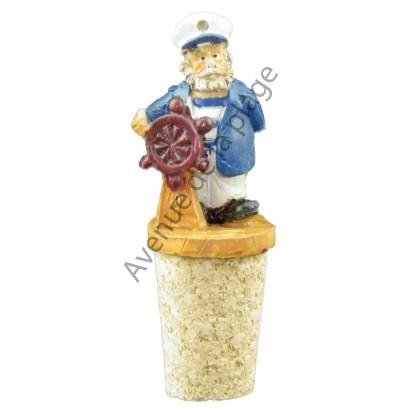 Bouchon de bouteille esprit marin : le marin capitaine de bateau.