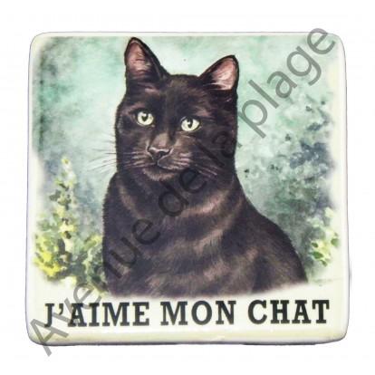 Magnet pour frigo Chat noir.