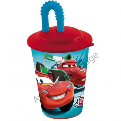 Verre avec paille Cars Flash McQueen 3D