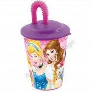 Verre avec paille Disney Princesses 3D