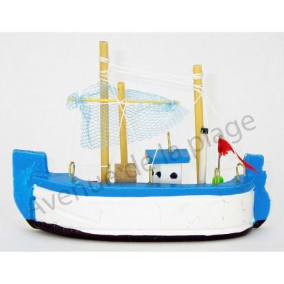 Magnet bateau de pêche bleu.