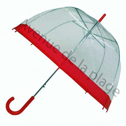Parapluie cloche transparent rouge.