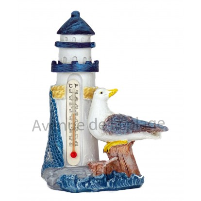 Thermomètre phare et mouette 14 cm bleu.