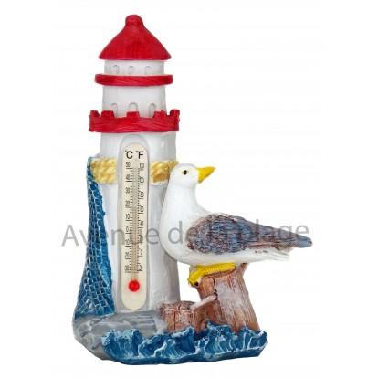 Thermomètre phare et mouette 14 cm rouge.