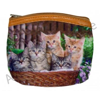 Porte monnaie chatons dans un panier, modèle A.