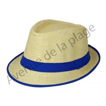 Chapeau Borsalino Paille bordure bleue.