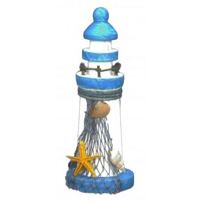 Phare marin en bois 13 cm étoile de mer, modèle A.