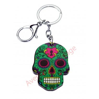 Porte clés Tête de mort Mexicaine verte.