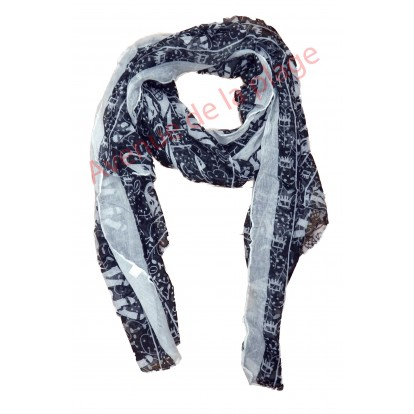 Foulard éléphant blanc et noir - écharpe - chèche