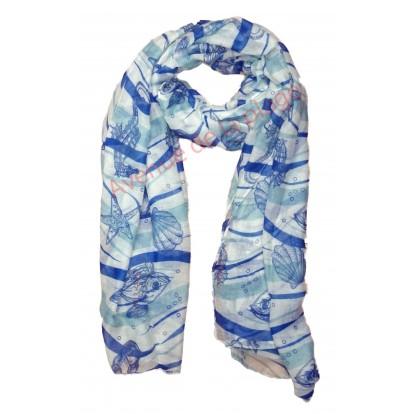 Foulard animaux marins bleu et blanc.