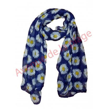 Foulard bleu fleur marguerite