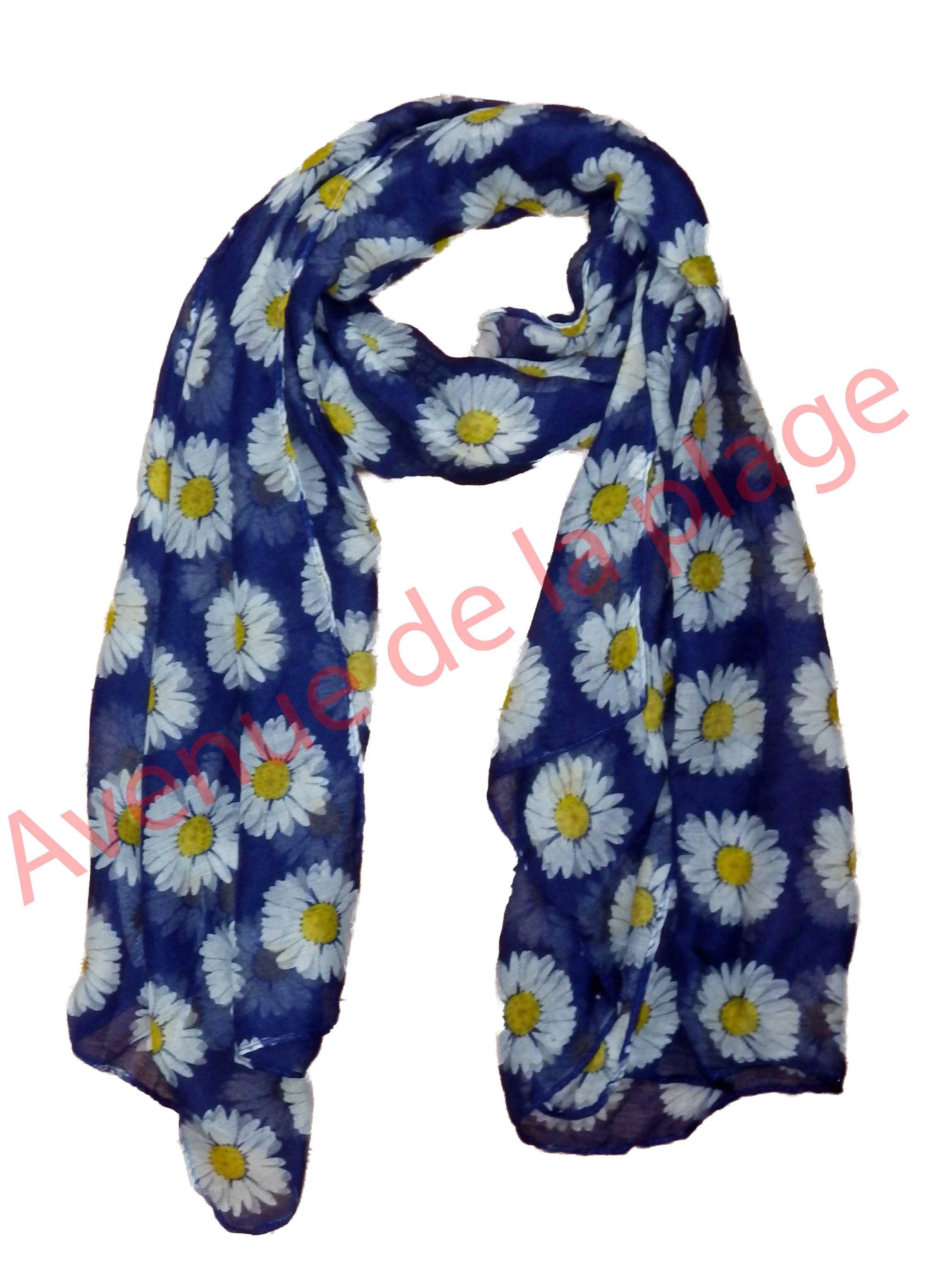 Foulard fleur marguerite pas cher- Achat Vente - Avenue de la plage 93df0dbcae2
