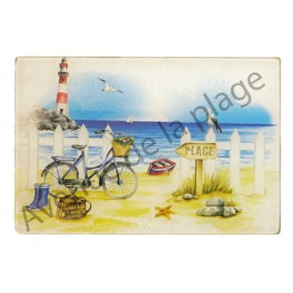 Dessous de plat en verre 30 x 40 cm : La plage et le vélo
