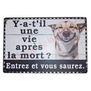 """Plaque humoristique attention au chien """"Y-a-t'il une vie après la mort ?"""""""
