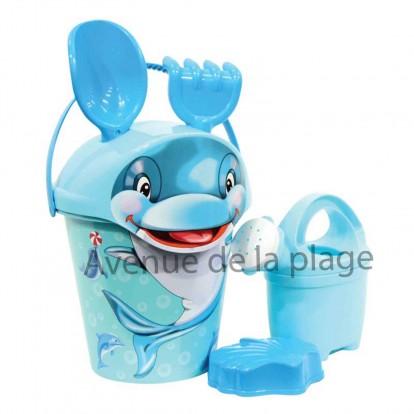 Seau de plage dauphin avec accessoires