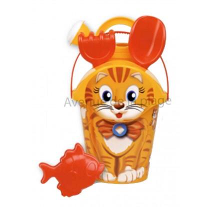 Seau de plage chat avec accessoires