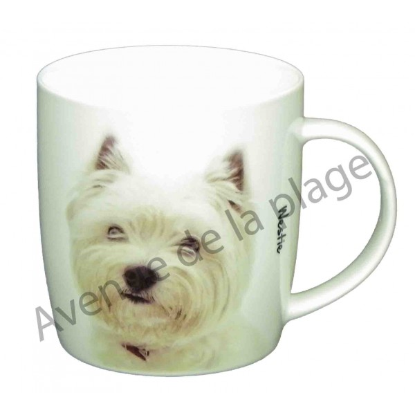 mug chien westie pas cher achat vente avenue de la plage. Black Bedroom Furniture Sets. Home Design Ideas