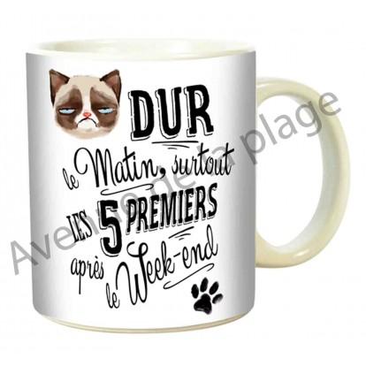 """Mug humoristique """"Dur le matin"""""""