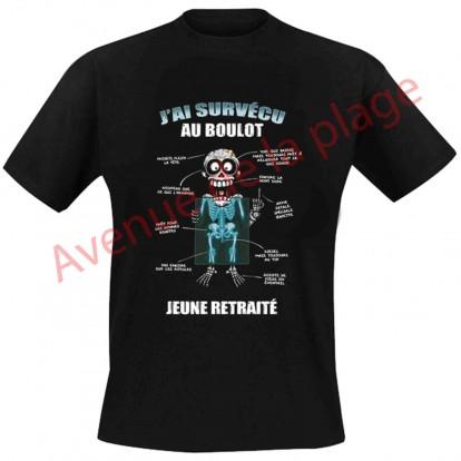 """T-shirt humoristique """"J'ai survécu au boulot"""""""