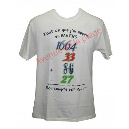 """T-shirt humoristique """"Cours de Maths"""""""